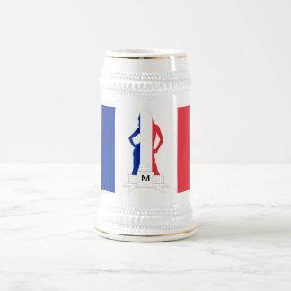 Französisches Flaggen- u. Mädchenmonogramm Bierglas