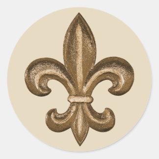Französisches goldenes Lilien-Wappen Runder Aufkleber