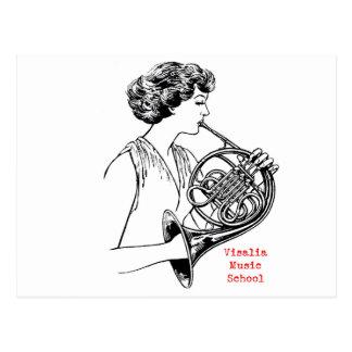 Französisches Horn-Frauen-Postkarte VMSs Postkarte