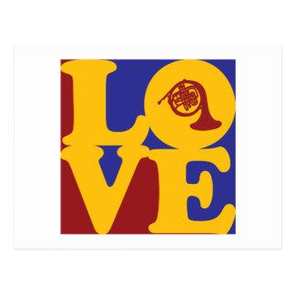 Französisches Horn-Liebe Postkarte