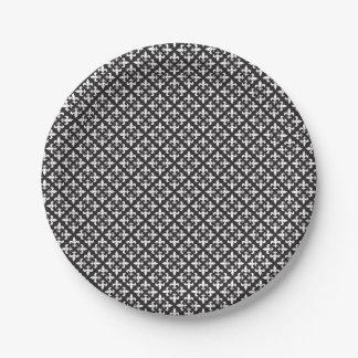Französisches Lilien-Schwarzweiss-Muster Pappteller 17,8 Cm
