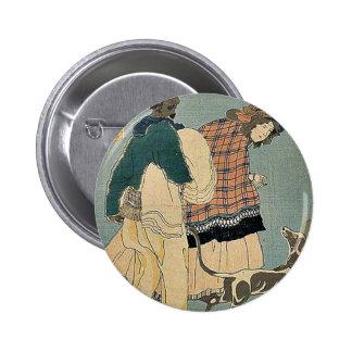 Französisches Mädchen, das mit Hund durch Utagawa, Runder Button 5,7 Cm