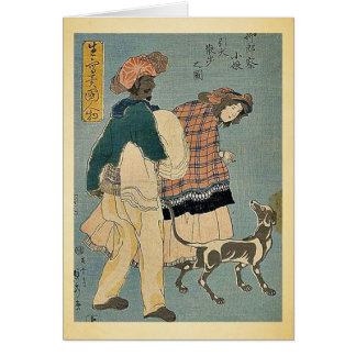 Französisches Mädchen, das mit Hund durch Utagawa, Grußkarte