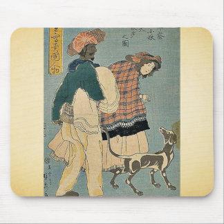 Französisches Mädchen, das mit Hund durch Utagawa, Mousepads