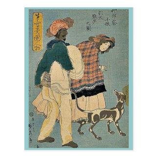 Französisches Mädchen, das mit Hund durch Utagawa, Postkarten