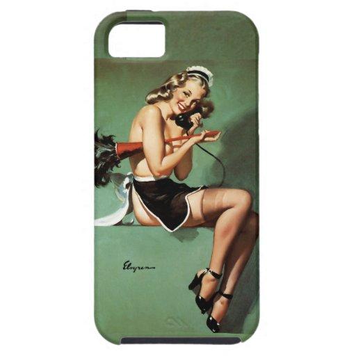 Französisches Mädchen mit Staubtuch-Button oben iPhone 5 Hülle