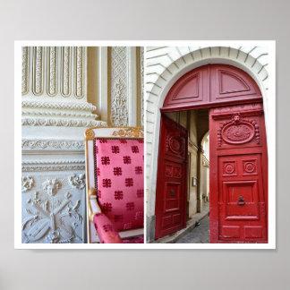 Französisches rotes u. weißes Stuhl-u. Poster