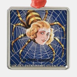 Französisches Spinnen-Mädchen Silbernes Ornament