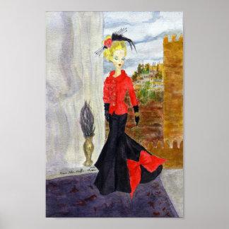 Französisches Viertel:  MatisseFashion Aquarell Poster