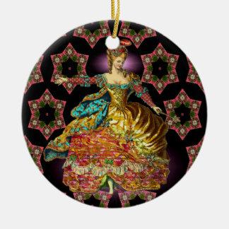 Französisches Weihnachten Rundes Keramik Ornament