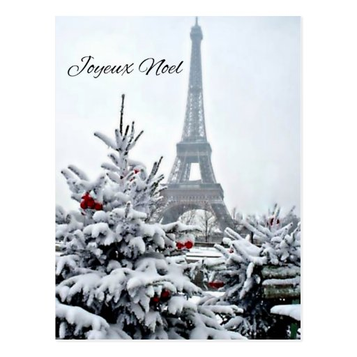 Französisches weißes Weihnachten Postkarte
