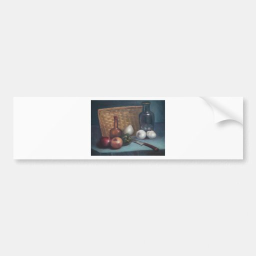 Französisches Zwiebel-Korb-und Vasen-Stillleben Auto Sticker