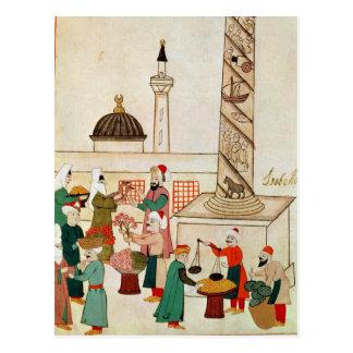 Frau 1671 ein Basar in Istanbul, c.1580 Postkarte