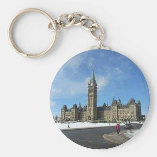 Frau am kanadischen Parlament in Ottawa Schlüsselanhänger