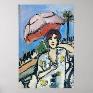 Frau am Zellen-Telefon abstrakt, Matisse Art Poster