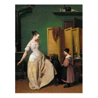 Frau an ihrer Toilette, 1835 Postkarte