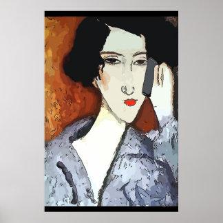 Frau an Zellen-Telefon abstrakte 4 Poster