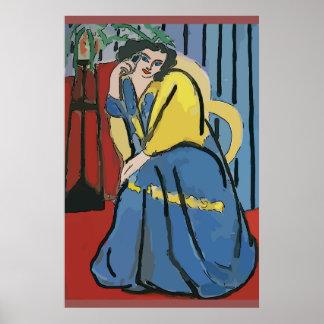 Frau an Zellen-Telefon abstrakte 5 Poster