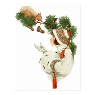 Frau befreundet Eichhörnchen zur Weihnachtszeit Postkarte