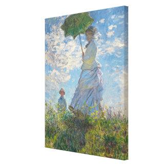 Frau Claude Monets | mit einem Sonnenschirm Leinwanddruck