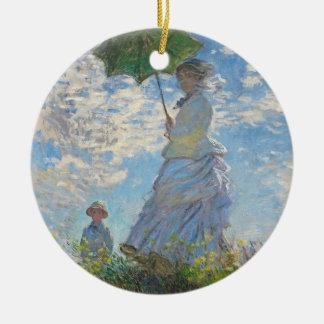 Frau Claude Monets | mit einem Sonnenschirm Rundes Keramik Ornament
