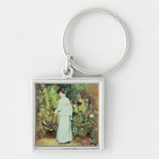 Frau Constable in ihrem Garten Schlüsselanhänger