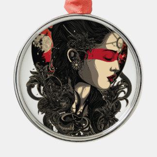 Frau des aufgehende Sonne Silbernes Ornament