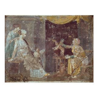 Frau, die Amoren, von Stabiae verkauft Postkarte