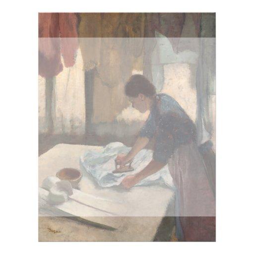 Frau, die durch Edgar Degas bügelt Flyerdruck
