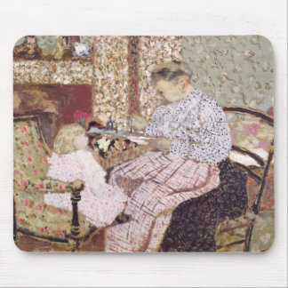 Frau, die ein Kind, 1901 füttert Mauspad