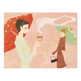 Frau, die Kaffee hält Postkarte