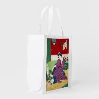 Frau, die mit einer Katze, Toyohara Kunichika Wiederverwendbare Einkaufstasche