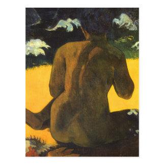 Frau durch das Meer durch Paul Gauguin, Vintage Postkarten