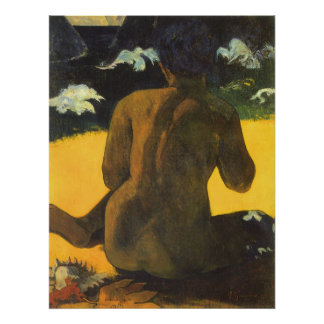 Frau durch das Meer Gauguin Vintager Impressioni Plakat