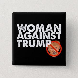 Frau gegen Trumpf - Antitrumpf-Button-Knopf Quadratischer Button 5,1 Cm