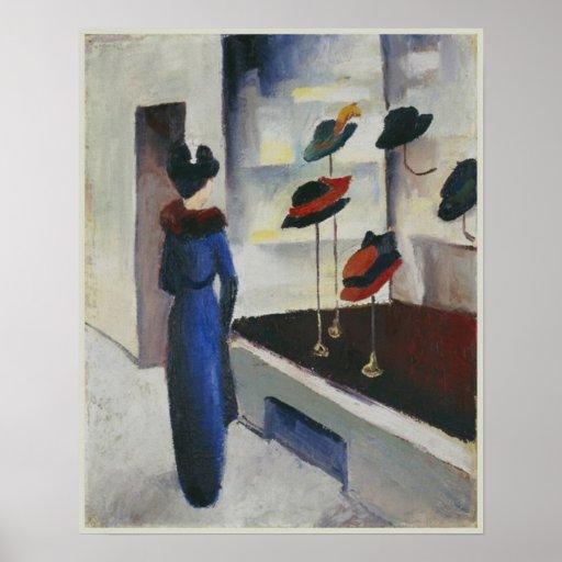 Frau im Blau am Hut-Geschäfts-August 1913 Macke Poster