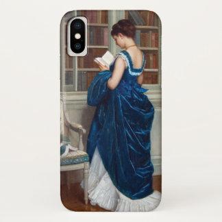 Frau im Blau, ein Buch lesend iPhone X Hülle