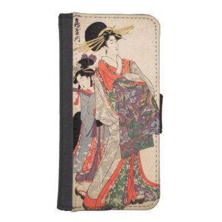 Frau im bunten Kimono Geldbeutel Hülle Für Das iPhone SE/5/5s