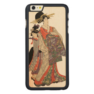 Frau im bunten Kimono (Vintager Japanerdruck) Carved® Maple iPhone 6 Plus Hülle