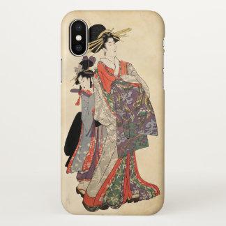 Frau im bunten Kimono (Vintager Japanerdruck) iPhone X Hülle