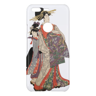 Frau im bunten Kimono (Vintager Japanerdruck) Uncommon Google Pixel Hülle