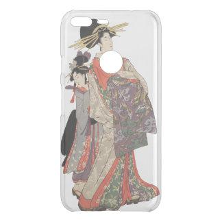Frau im bunten Kimono (Vintager Japanerdruck) Uncommon Google Pixel XL Hülle