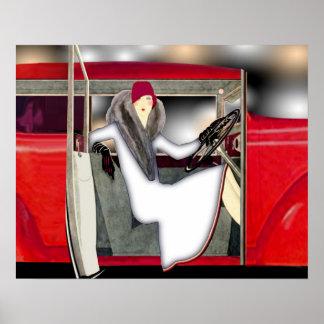 Frau im roten Sport-Auto Poster