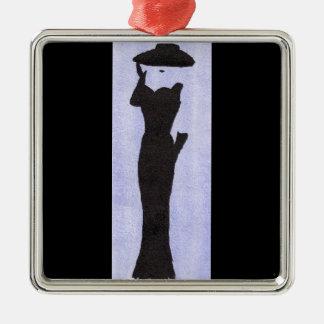 Frau im Schwarzen Silbernes Ornament