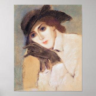 Frau in den schwarzen Handschuhen Poster