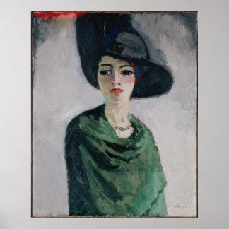 Frau in einem schwarzen Hut Poster