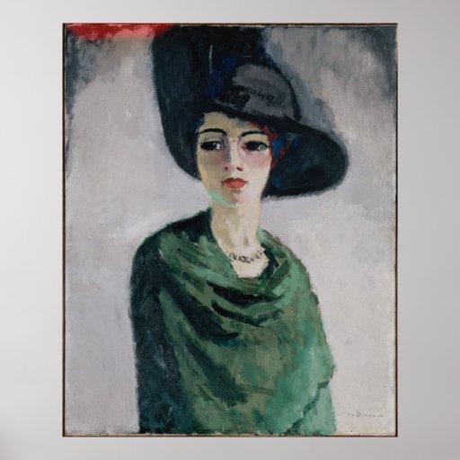 Frau in einem schwarzen Hut Plakat