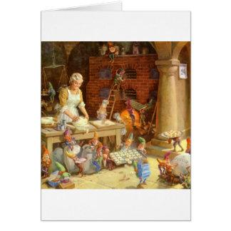 Frau Klaus Bakes Cookies mit Sankt Elfen! Karte