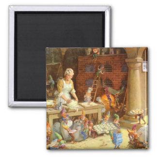Frau Klaus Bakes Cookies mit Sankt Elfen! Quadratischer Magnet