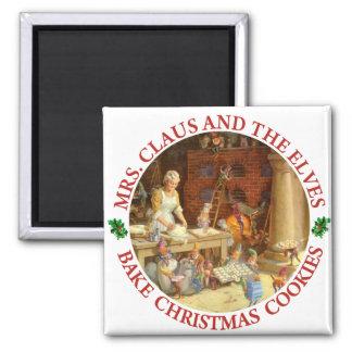 Frau Klaus u. Sankt Elfe backen Weihnachtsplätzche Quadratischer Magnet